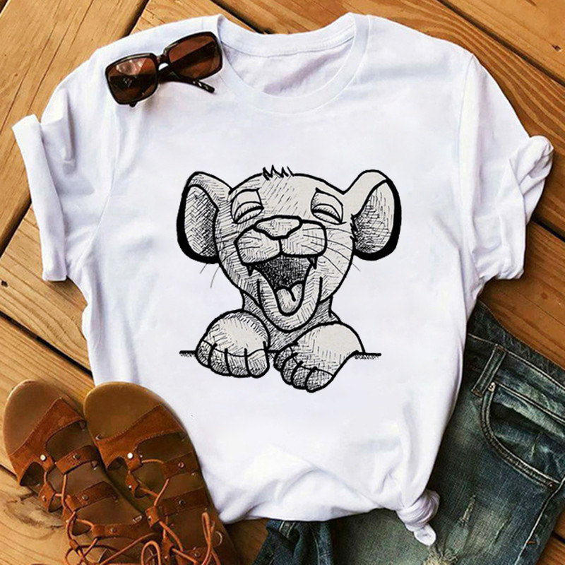 Ladies Summer Casual Short Sleeves Cartoon Lion King Printed Tshirt Fashion Casual Harajuku O Neck Tops