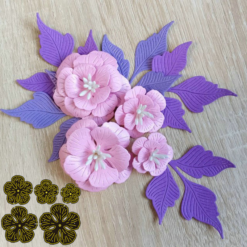 5pcs Flower Stitched metal <font><b>Cutting</b></font> <font><b>dies</b></font> <font><b>Christmas</b></font> New Stencil for DIY Scrapbooking Craft <font><b>dies</b></font> Cut Decor image