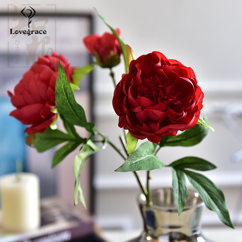 3 Heads White Peonies Artificial Flowers Silk Flores Peony For Wedding Decor Winter Fake Big Flowers Red For Home Decor Autumn