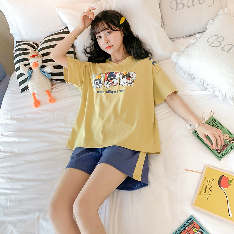 Pajamas Women's Summer Pure Cotton Short Sleeve Korean-style Students Cute Cat Two-Piece Set Sweet Thin-Outer Wear Tracksuit