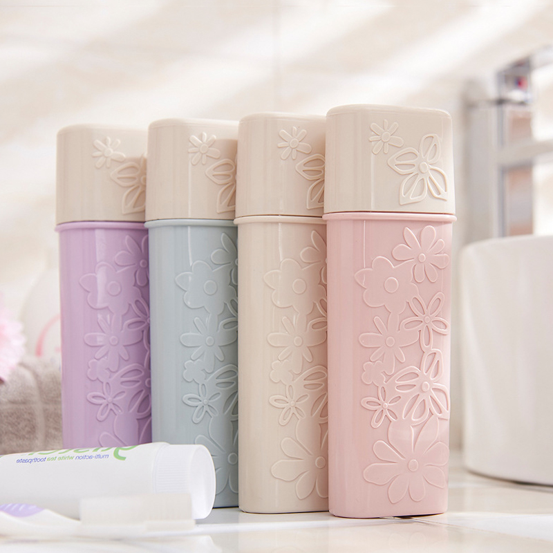 Portable Flower Carved Toothbrush Holder Outdoor Hiking Camping Travel Toothrush Cap Case Home Toothpaste Storage Box Organizer