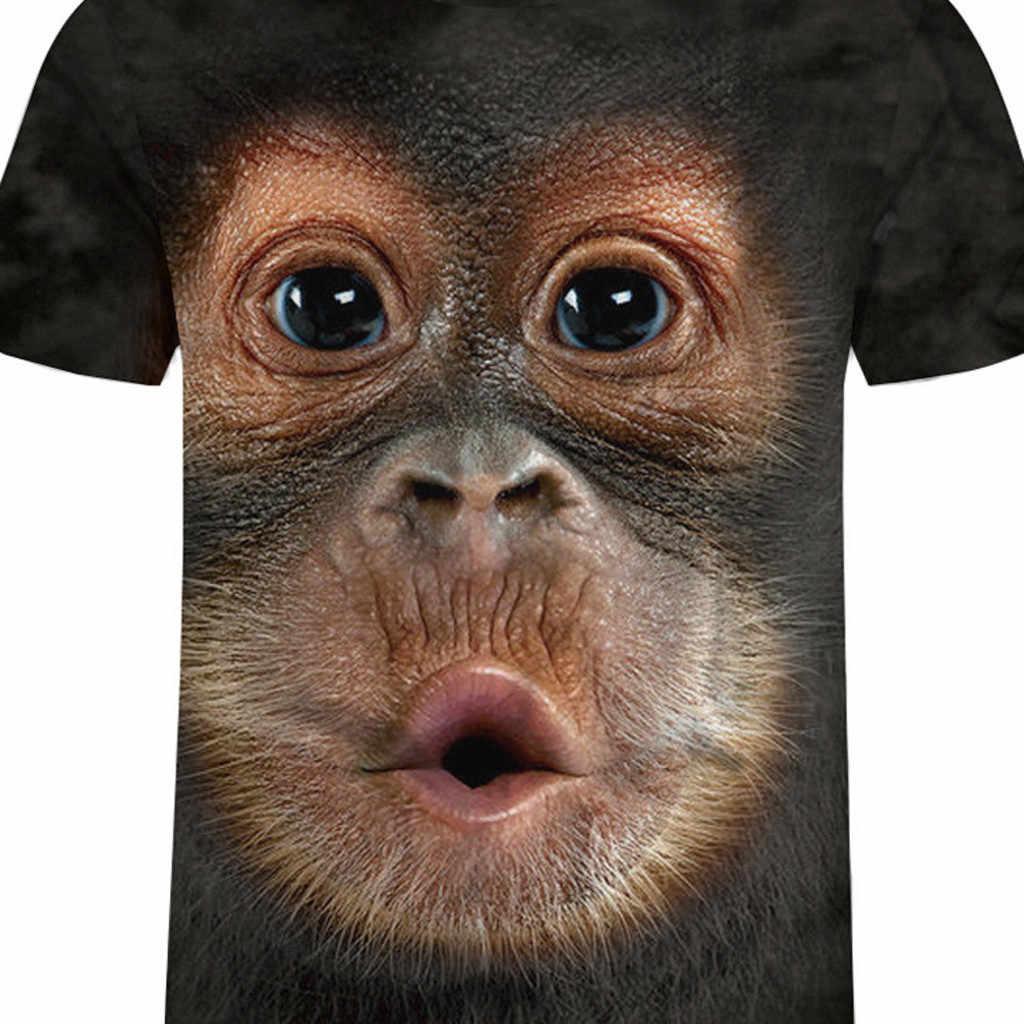 גברים אביב קיץ גברים של חולצות 3D מודפס בעלי החיים קוף חולצת טי שרוול קצר מצחיק עיצוב מקרית חולצות Tees זכר זרוק # YL5