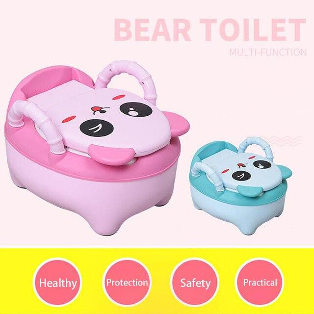 Baby Pot Children Training Potty Toilet Seat Kids Cartoon Panda Toilet Trainer Portable Travel Urinal Comfortable Backrest Pots 3