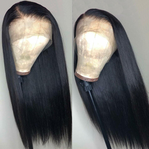 Image 2 - 360 Lace Frontal Wig Pre Plucked With Baby Hair Peruvian Straight Remy 13x4 Lace Front Human Hair Wigs 4x4 Lace Closure Wig