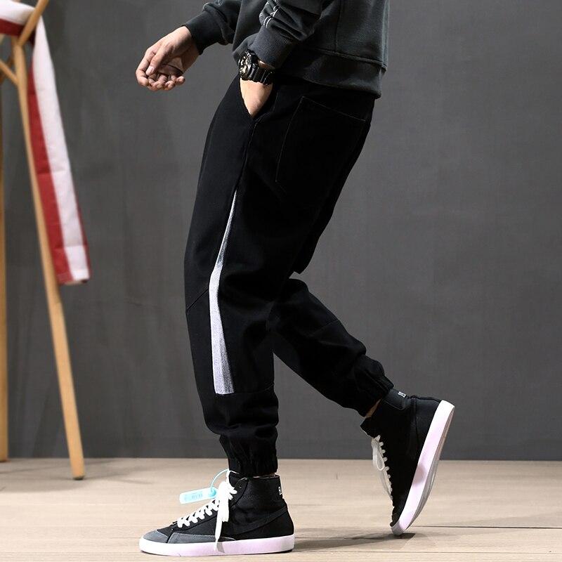 Fashion Streetwear Men Jeans Loose Fit Black Color Spliced Designer Harem Jeans Cargo Pants Size 28-42 Hip Hop Jogger Jeans Men