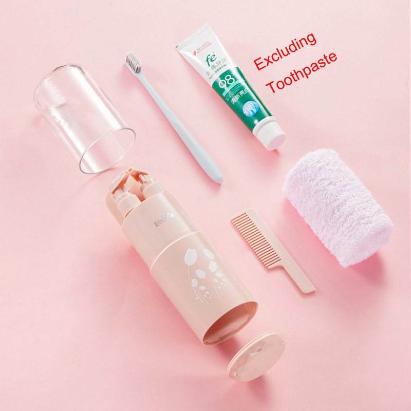 Image 2 - 2019 New Creative Travel Eight In One Wash Set Outdoor Portable Toothbrush Box Shampoo Shower Gel Refillable Bottle WholesaleRefillable Bottles   -