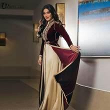 Fas kaftanlar bordo resmi elbise A-line uzun kollu abiye giyim kat-uzunluk kadife Vintage parti elbise nakış ile