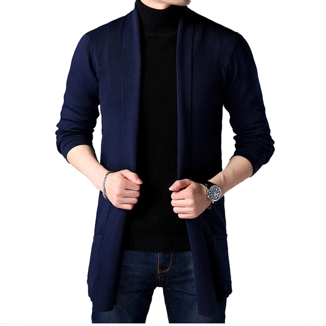 Men's thin long style cardigan spring and autumn X-long knit sweater jackets solid color sweatercoat 1