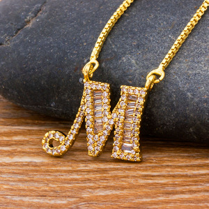 Top Quality Initial Name Letter Necklace Gold 26 Letters Charm Pendants Micro Pave CZ Copper Chain Jewelry For Women Girls Gifts