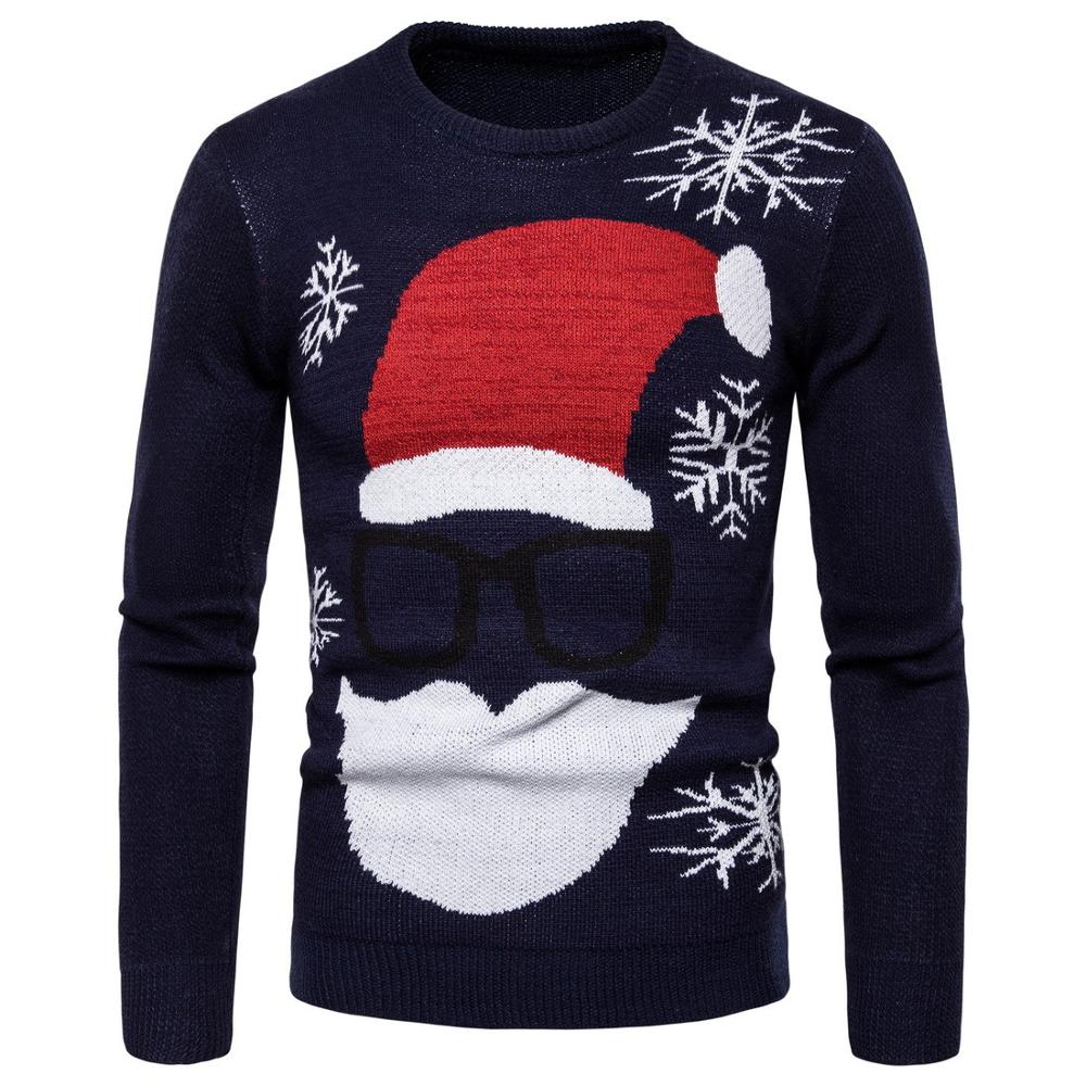 2019 Santa Claus Print Loose Ugly Christmas Sweater Unisex Men's And Women's Pullover Autumn And Winter New Shirt Christmas Clot