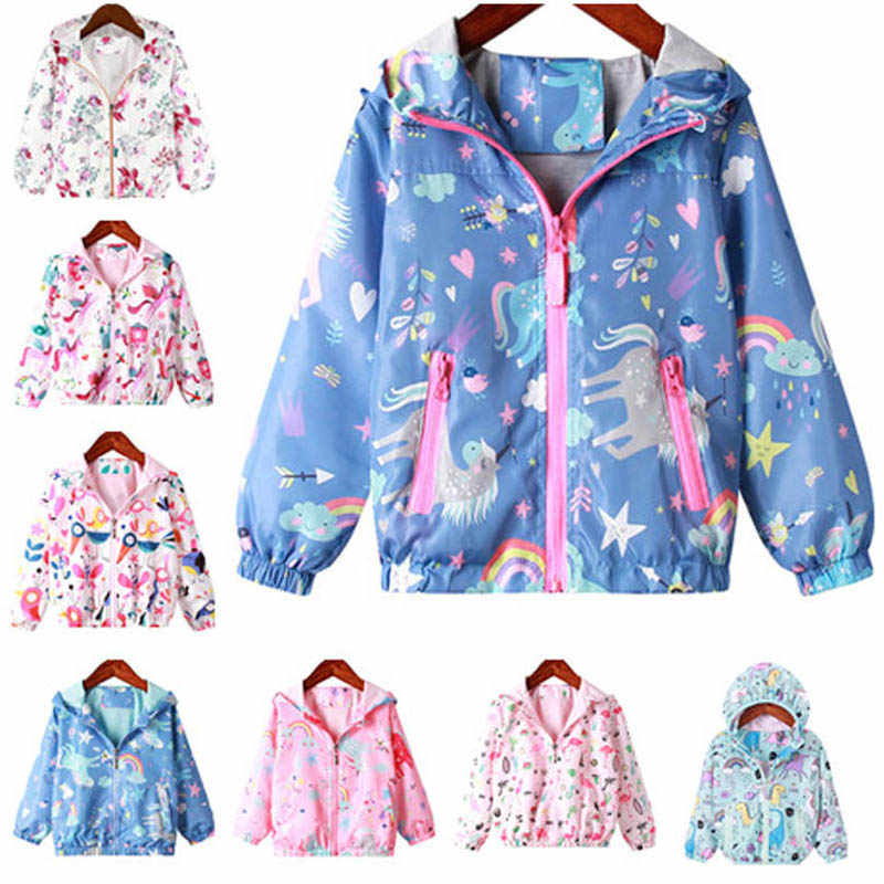 Rainbow Unicorn Hooded Coat Kids Rain Jacket For Girl Children Clothing Spring Children Long Sleeve Print Outerwear Tops 2-7 Y