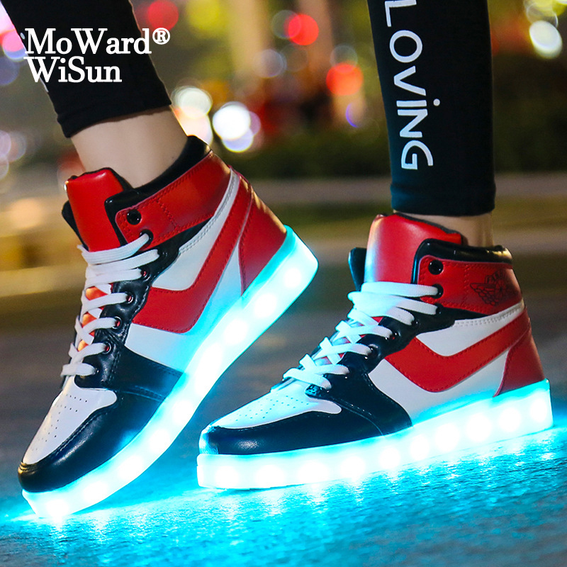 Size 30-44 USB Charge Children Luminous Sneakers Led Shoes For Kids Boys Girls Glowing Lighted Shoes With Lights Casual Shoes