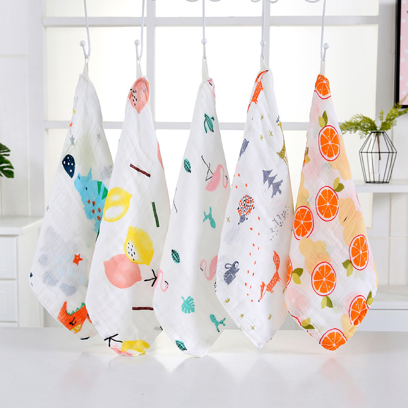 Four-layer 30*30 Cm Bamboo Cotton Baby Towel Newborn Soft Multi-use Swaddle Muslin Infant Gauze Both Towel Baby Warp Baby Stuff