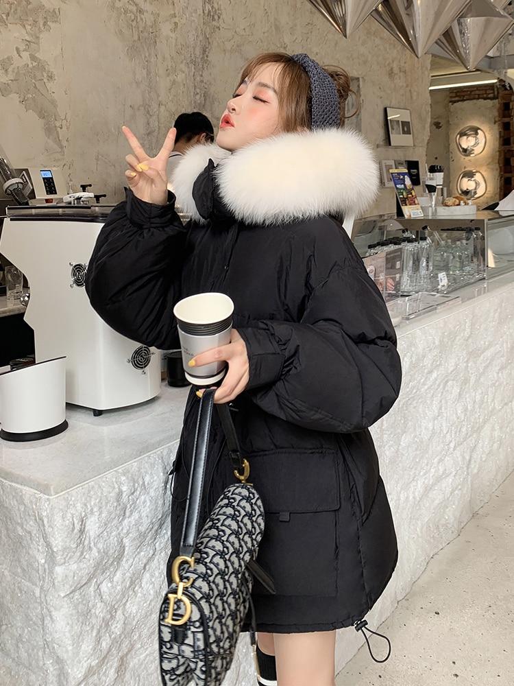 2020 White Duck Down Jacket Women Winter Coat Korean Real Fox Fur Collar Overcoat Puffer Jacket Kurtka Damska KJ3480
