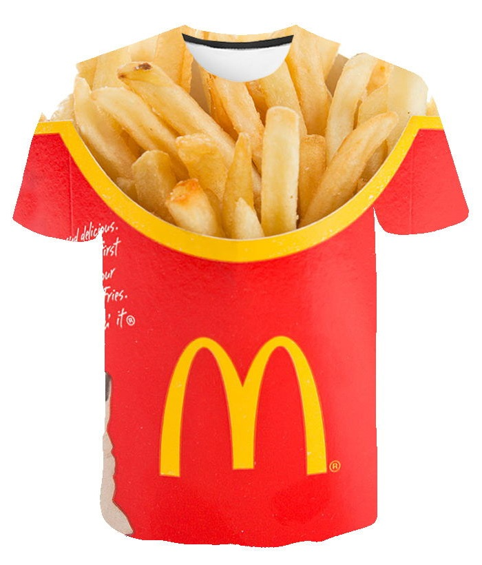 3D Printed T-shirt Men's Ladies Hip-hop T-shirt Fried Food Fries Fast Food Harajuku Top T-shirt Shirt T-shirt Short Sleeve