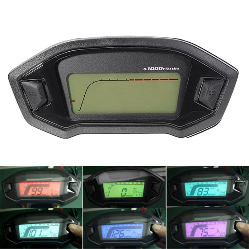 Universal Motorcycle LCD Digital Gauge Panel Speedometer Tachometer Odometer For Motorbike Scooter Motocross ATV Seven Backlight image