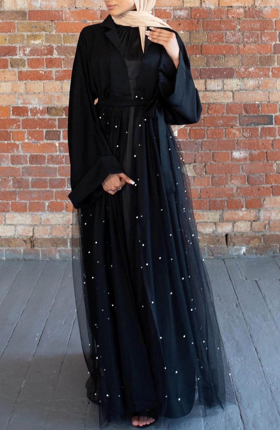 Elegant Black Eid Abaya Dubai Kaftan Kimono Cardigan Lace Muslim Hijab Dress Women Dubai Turkish Islamic Clothing