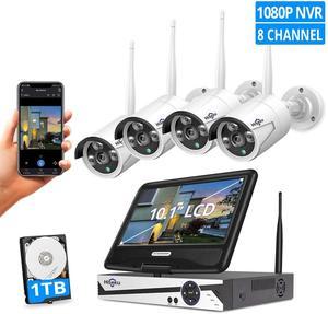 "Hiseeu 8CH 1080P Wireless CCTV Surveillance Kit with 10.1"" Monitor 2.0MP IR-Cut Outdoor Weatherproof Security Camera System Set(China)"