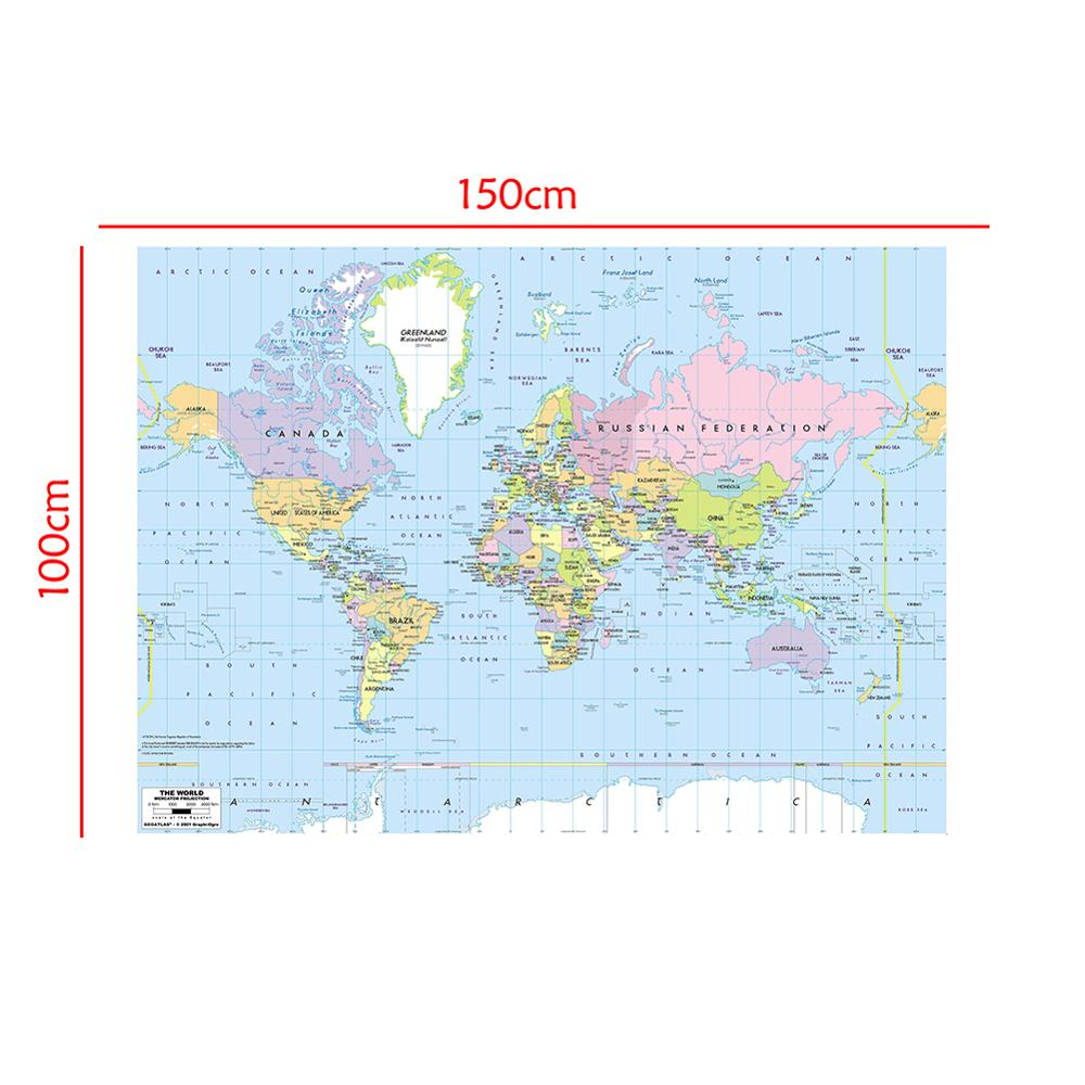 150x100cm World Map Mercator Projection With River Callout Non-woven Foldable World Map Without National Flag