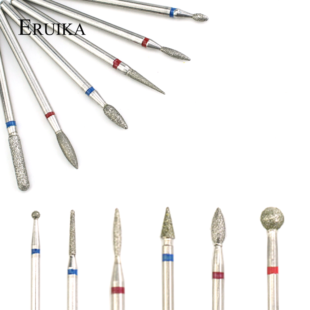ERUIKA 6pcs Diamond Nail Drill Set Nail Milling Cutter Machine Aaccessory Manicure Machine Rotary Burr Cuticle Clean Tools