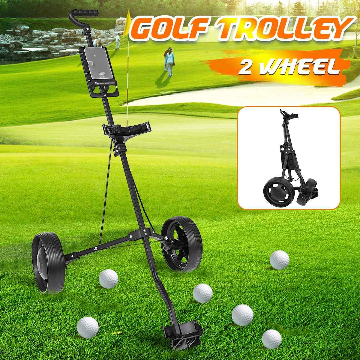 Golf Pull Cart Iron Black Adjustable Golf Trolley Cart 2 Wheels Push Pull Golf Cart Aluminium Alloy Foldable Trolley With Brake 1