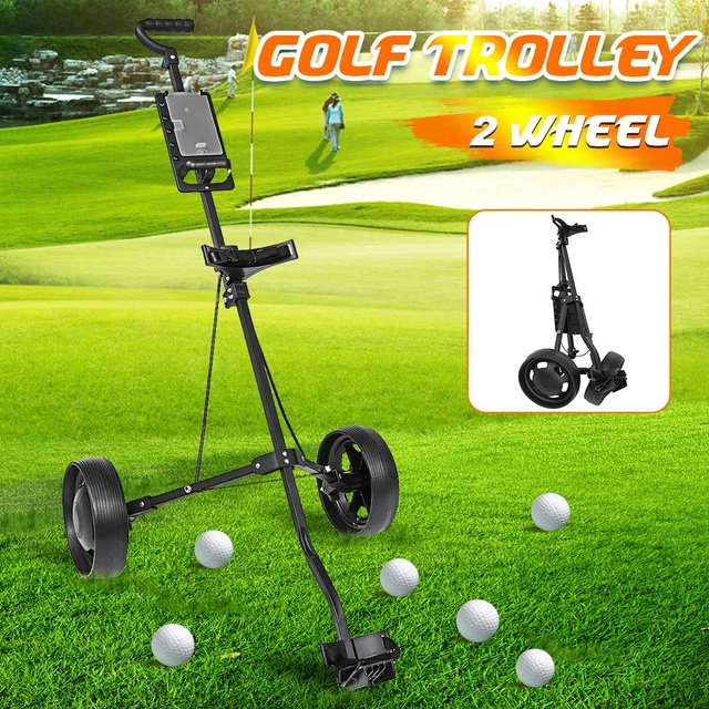 Golf Pull Cart Iron Black Adjustable Golf Trolley Cart 2 Wheels Push Pull Golf Cart Aluminium Alloy Foldable Trolley With Brake 1