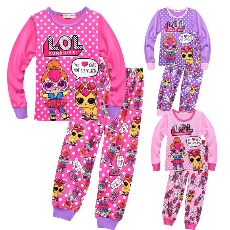 Girls Print Lol Doll Toddler Pajamas Kids Tracksuit Baby Cute Christmas Pajama Set Anime Cartoon Long Sleeve Costume Casual Wear