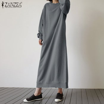 2020 Autumn Solid Sweatshirt Dress ZANZEA Casual Vintage Long Sleeve Vestidos Women O Neck Split Long Sundress Female Plus Size plus size women half sleeve ruffles casual summer dress sexy o neck a line loose mini everyday dress sundress vestidos feminino