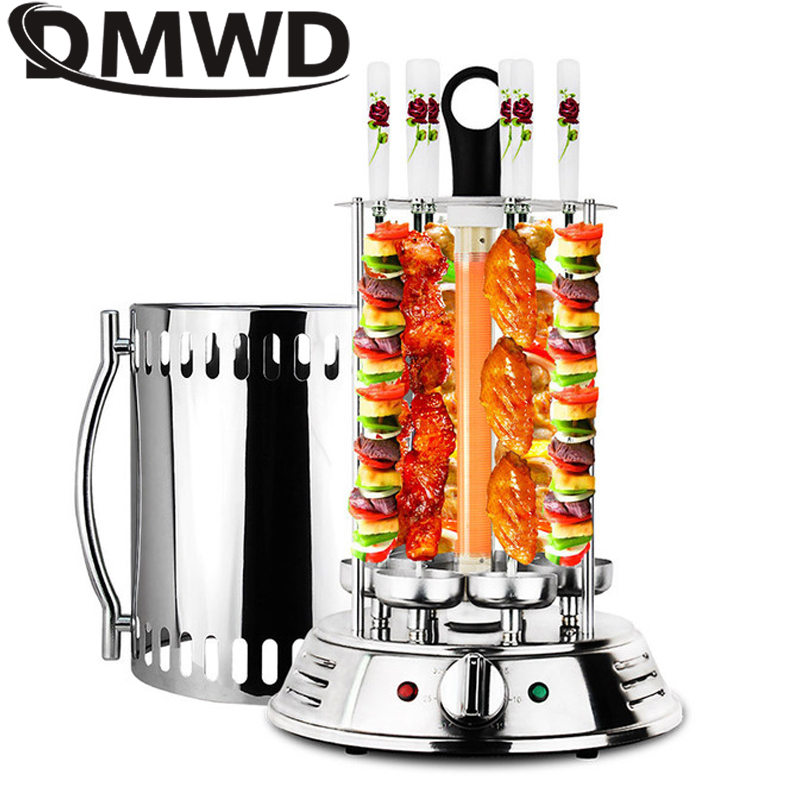 DMWD Electric Oven Smokeless Barbecue BBQ Kebab Rotary Machine Grill Automatic Rotation Rotisserie Roast Domestic Lamb Skewers