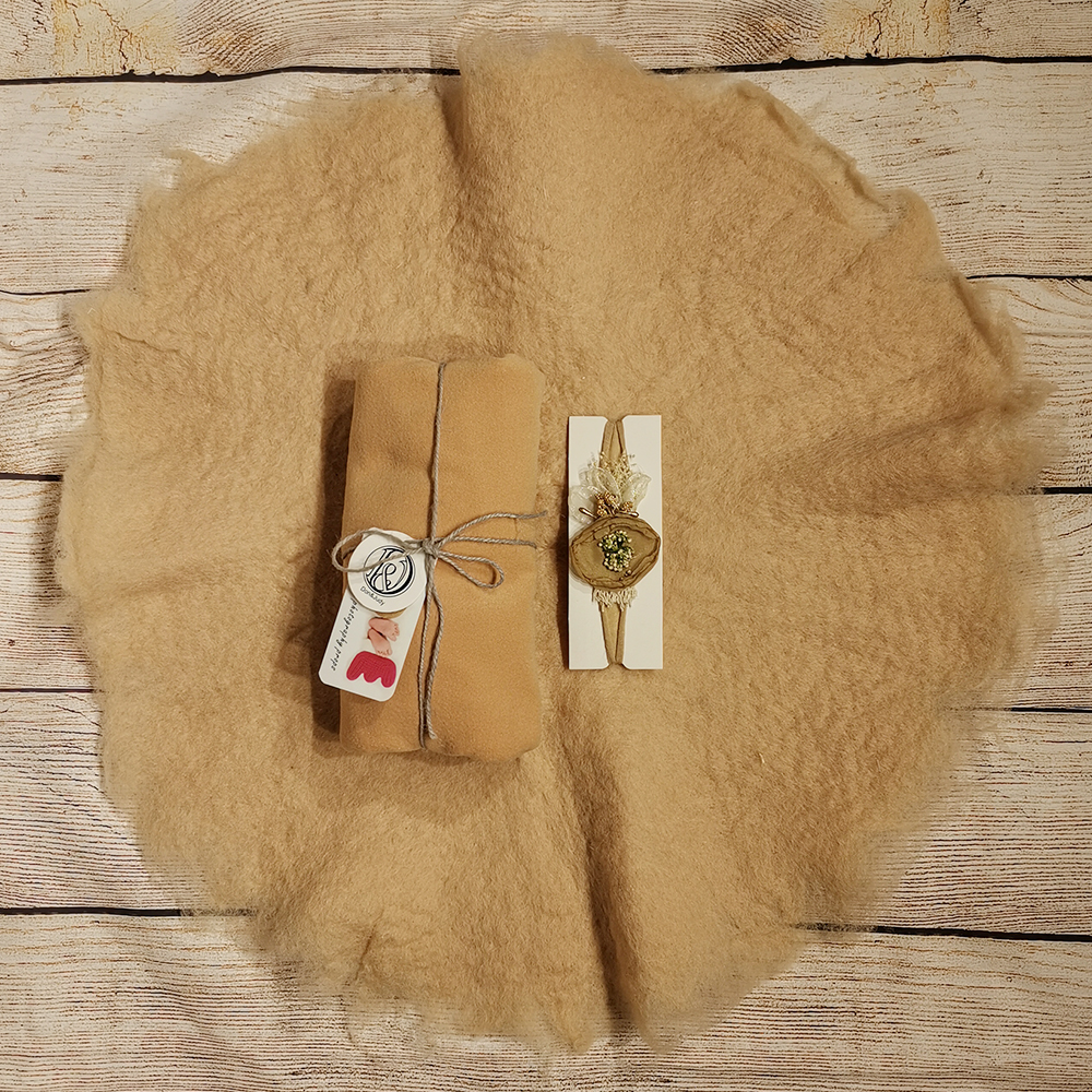 Handcraft Wool Felted Round Blanket+ 160*40cm Double Faced Milled Wrap+matched Cotton Headband For Newborn Photography Props
