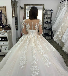 Image 5 - свадебное платье 2020 Lace Appliques Tulle  Long Sleeves Wedding Dress Buttons Lace Up Back Custom Made Plus Size Bridal Gowns