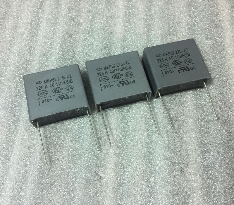 5PCS -1lot   MKP62 2.2uf 275V X2   Gray Safety Box Type Block Capacitor   Safety Film Capacit P27.5 225K .