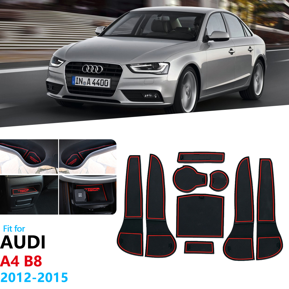 For <font><b>Audi</b></font> <font><b>A4</b></font> <font><b>B8</b></font> 2012 2013 <font><b>2014</b></font> 2015 <font><b>A4</b></font> 8K RS4 S4 S line RS 4 Anti-Slip Rubber Gate Slot Cup Mat Coaster Accessories Car Stickers image