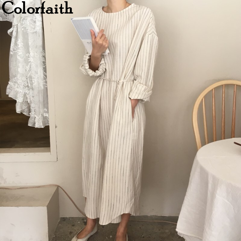 Colorfaith New 2019 Autumn Winter Women Dresses Sashes Straight Prairie Chic Elegant Striped Midi Ankle-Length Female DR1695