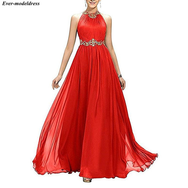 2021 Prom Dresses Long A-Line Pleats Beaded Appliques Empire Chiffon Bridesmaid Dress Elegant Floor Length Evening Party Gowns 4
