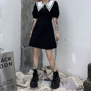 Japanese Summer College Style Dark Girl Dresses Sailor Collar Splice Vintage Faith Embroidery Harajuku Sweety Puff Sleeve Dress