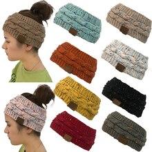 Женская Шапка-бини «конский хвост», тянущаяся вязанная крючком шапка, зимние шапки для женщин, шапка, теплая Дамская булочка, Прямая поставка