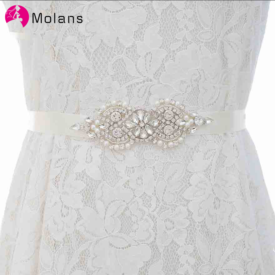 MOLANS Boutique Rhinestone Pearl Beading Waistbands For Bridal Wedding Dress Crystal Belt Bow With Satin Ribbons Sash Girdle