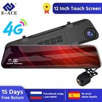 E ACE Car Dvr 12 Inch Stream Media Rear View Mirror 2K Car Camera 4G Android Dash Cam 1080P Registrar Dual Lens Video Recorder