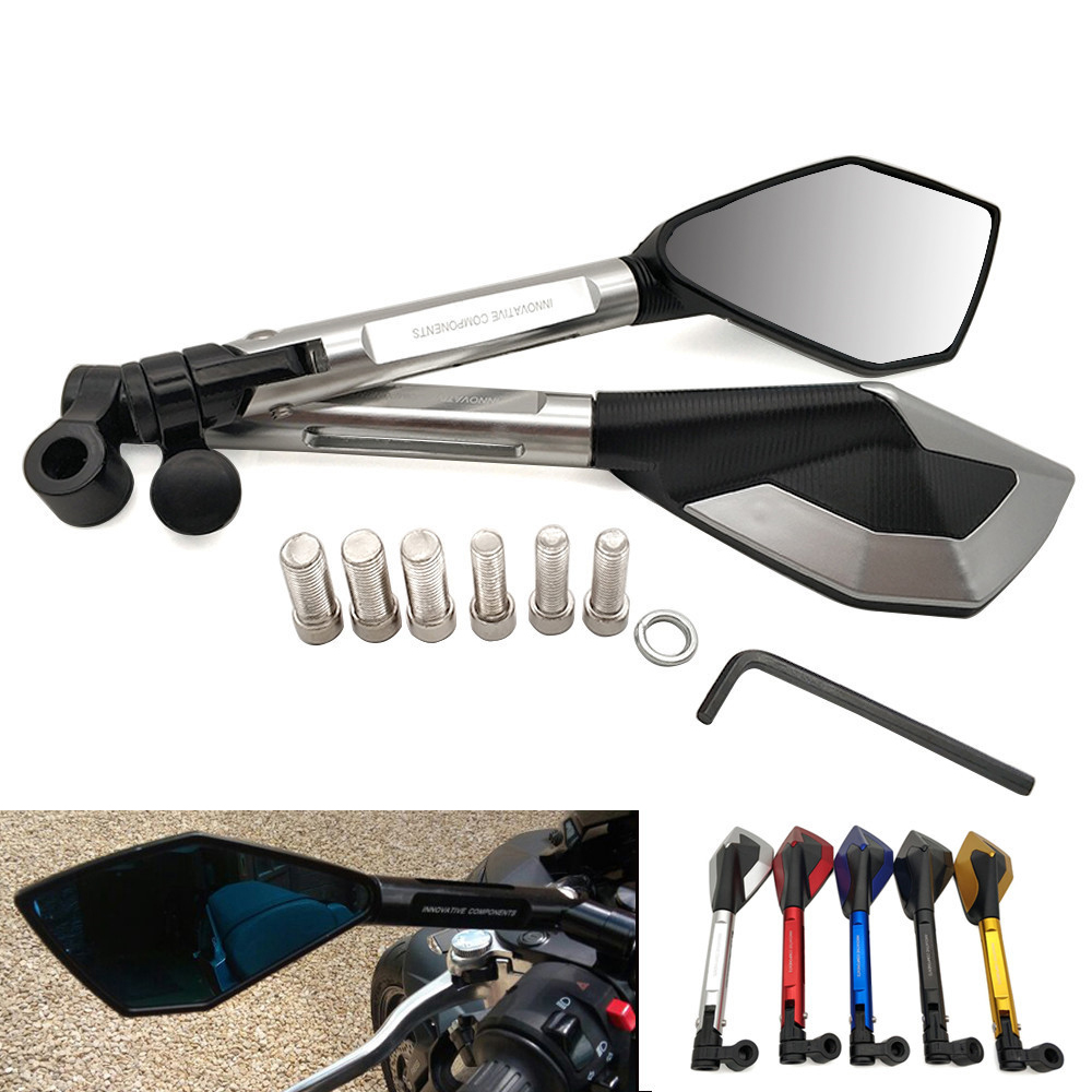 Universal Motorcycle Rearview Mirror CNC Aluminum View Side Mirrors For <font><b>Yamaha</b></font> FZR 600 FZR400 BT1100 XJR400 <font><b>MT</b></font> 09 <font><b>10</b></font> FZ 07 09 image
