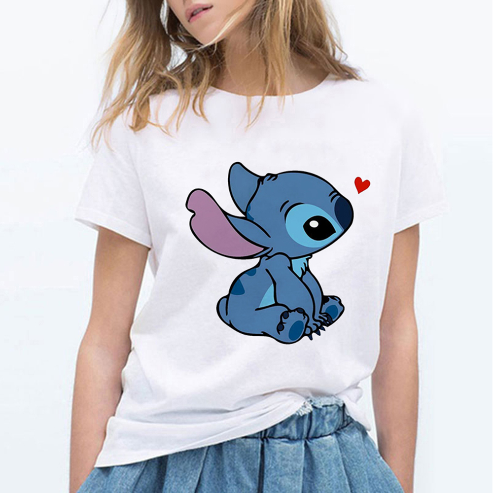 Women's Summer Kawaii Clothes High Quality Harajuku Stitch Tshirt O Neck Short Sleeve Korean Style Tops Womens Clothing