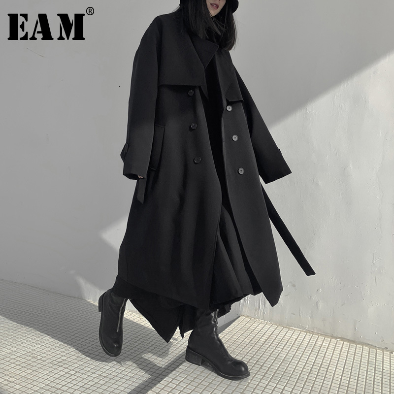 [EAM] Women Long Cotton-paded Big Size Trench New Lapel Long Sleeve Loose Fit Windbreaker Fashion Spring Autumn 2020 19A-a702