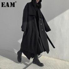 [EAM] kobiety długa z bawełny wyściełane duży rozmiar wykop nowa z klapami z długim rękawem luźny krój wiatrówka moda wiosna jesień 2020 19A a702