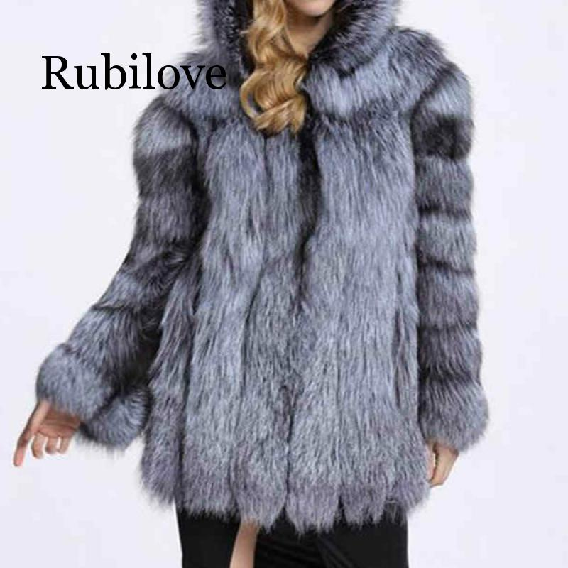 Fashion Winter Women Faux Fur Coat Lady Single Breasted Fox Fur Jacket Female Long Sleeve Fur Coat With Warm Hood