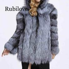 Rubilove Fashion Winter Women Faux Fur Coat Lady Single Breasted Fox Fur Jacket Female Long Sleeve Fur Coat With Warm Hood faux fur double breasted coat