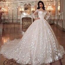 Vestido De novia De lujo con cuentas brillantes, encaje De lujo