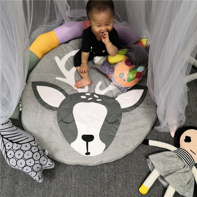 Hcd7e283d201c4c979b136d75893bddbdE Child Play Mats kids animal Crawling Carpet Floor Rug Baby soft cotton sleeping Game rugs Children Room Decor Photo Props 90CM