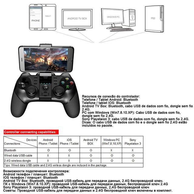 PG-9076 Bluetooth Gamepad Game Pad Controller Mobile Trigger Joystick 6