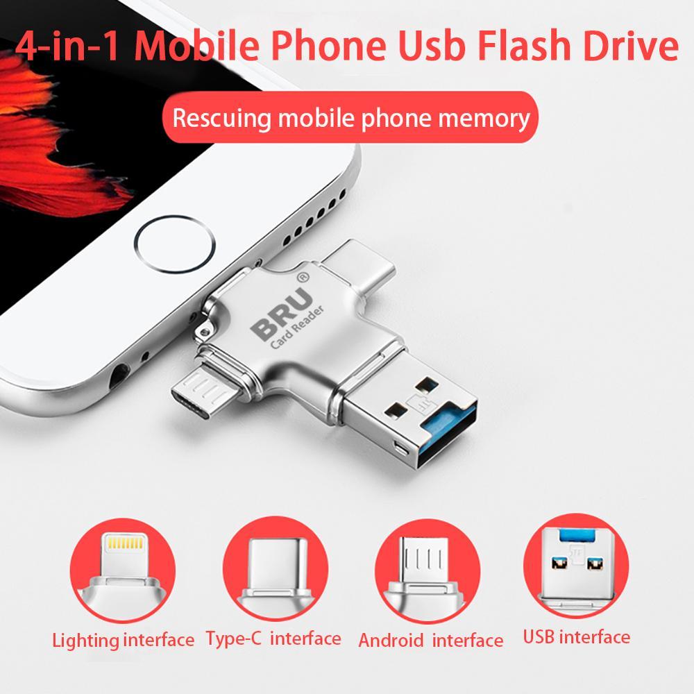 Bru 4In1 Usb Otg Pen Drive Usb Flash Drive 3.0 For Iphone Ipad Android Type-c Smart Phone Tablet PC 16gb 32gb 64gb 128gb 256gb