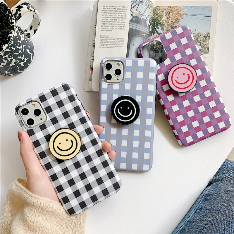 Cute Plaid Cartoon Smile Face Phone Case For Iphone 11 Pro Max X Xsmax XR Xs 6 6S 7 8 Puls Cases Retro Soft Silicone Cover Coque